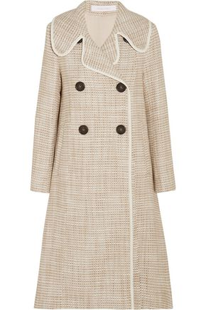 SEE BY CHLOÉ Double-breasted faux leather-trimmed tweed coat