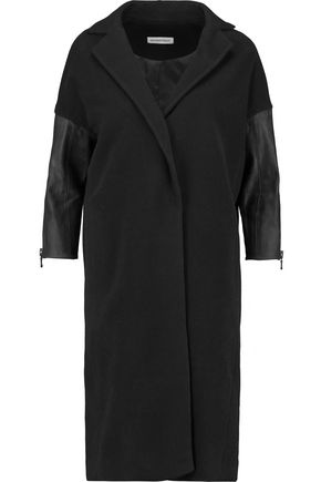 KAUFMANFRANCO Leather-paneled wool-blend coat