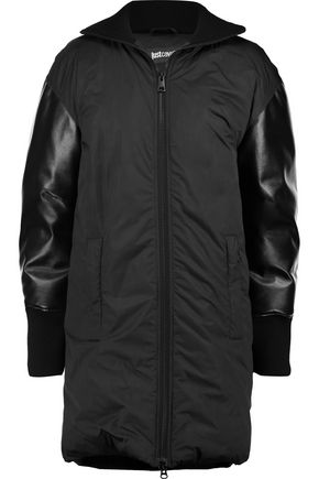 JUST CAVALLI Faux leather-paneled padded shell coat