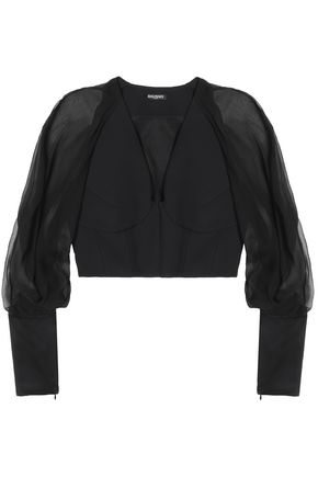 BALMAIN Cropped paneled crepe and georgette top