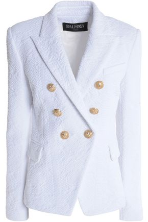 BALMAIN Double-breasted jacquard blazer