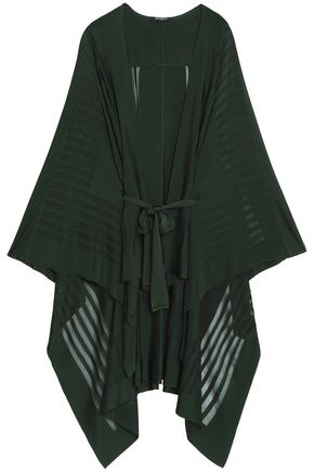 BALMAIN Belted ribbed-knit cape