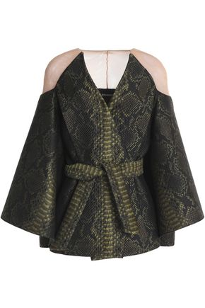 BALMAIN Cape-effect paneled jacquard jacket