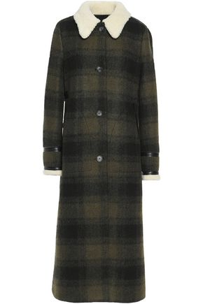 MM6 MAISON MARGIELA Faux shearling-trimmed checked wool-blend coat