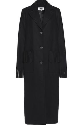 MM6 MAISON MARGIELA Fringed wool-blend coat ...