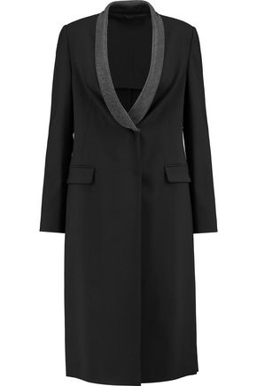 BRUNELLO CUCINELLI Chain-trimmed wool-blend crepe coat