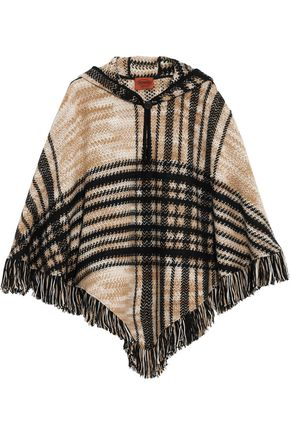 MISSONI Fringed checked wool-blend hooded poncho