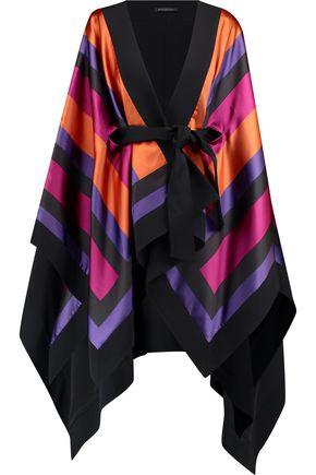 BALMAIN Crepe-trimmed draped striped satin jacket