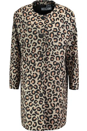 LOVE MOSCHINO Leopard-print woven cotton-blend coat