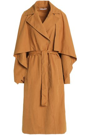 ROSETTA GETTY Cape-effect belted woven trench coat