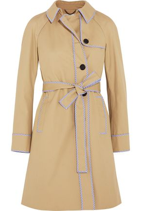 J.CREW Hawthorne stripe-trimmed cotton-twill trench coat