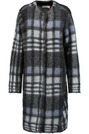 TORY BURCH Checked mohair-blend coat