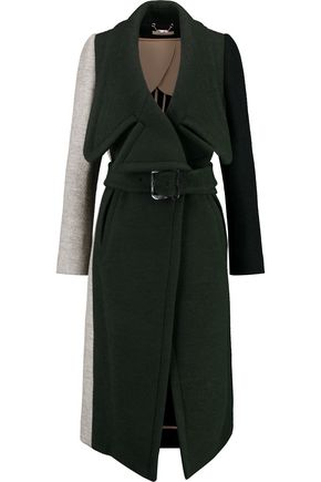 CHLOÉ Color-block wool-blend coat