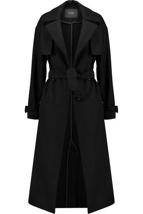 MAJE Belted wool-blend trench coat