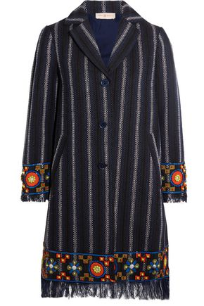 TORY BURCH Luna embellished cotton-blend tweed coat