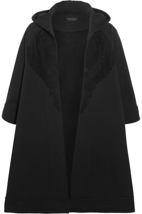 BURBERRY Lace-trimmed cotton-blend jersey hooded cape