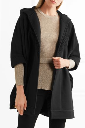 ... BURBERRY Lace-trimmed cotton-blend jersey hooded cape ...