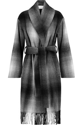 T by ALEXANDER WANG Fringed checked wool-blend felt coat