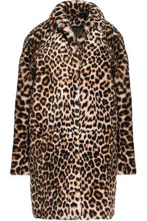 SANDRO Leopard-print faux fur coat