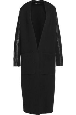 MAJE Leather-paneled stretch-knit coat
