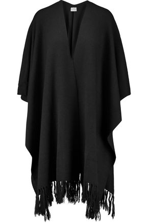 DKNY Fringe-trimmed knitted poncho