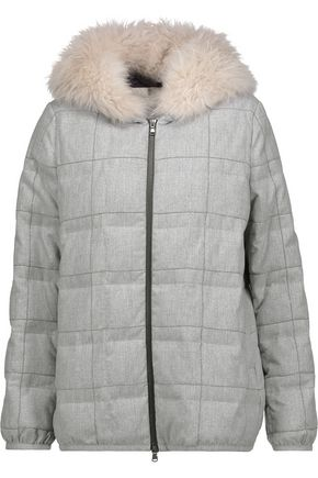 BRUNELLO CUCINELLI Bead-embellished quilted wool-blend hooded down coat