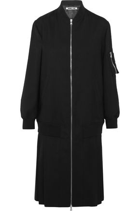 McQ Alexander McQueen Zip-detailed pleated stretch-wool coat