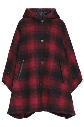 MM6 MAISON MARGIELA Faux shearling-trimmed checked wool-blend hooded poncho