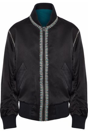 TALITHA Reversible embroidered silk-satin bomber