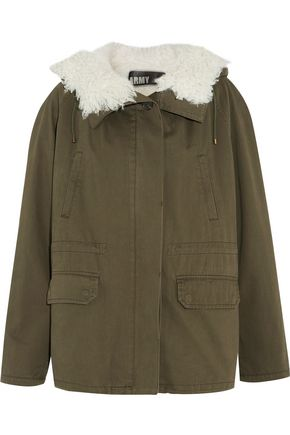 YVES SALOMON Shearling-paneled cotton-twill jacket