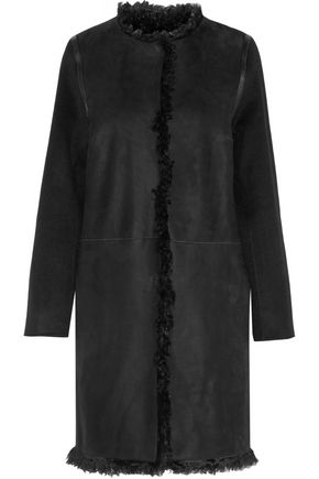 YVES SALOMON Shearling-trimmed suede coat