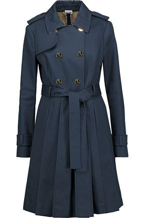 THOM BROWNE Pleated cotton-twill trench coat