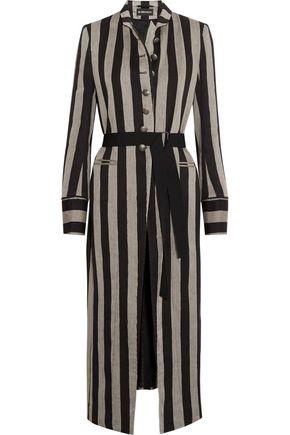ANN DEMEULEMEESTER Striped linen-blend coat