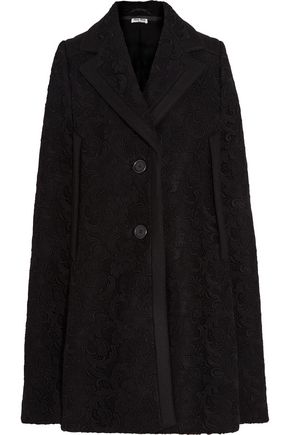 MIU MIU Guipure lace-paneled wool cape