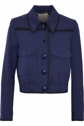 ROKSANDA Cropped whipstitched-trimmed wool-twill jacket