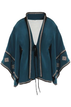 TALITHA Velvet-trimmed embroidered silk poncho