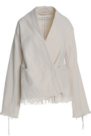 MARQUES ' ALMEIDA Wrap-effect frayed denim blazer