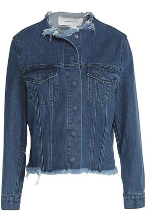 WOMAN FRAYED DENIM JACKET MID DENIM
