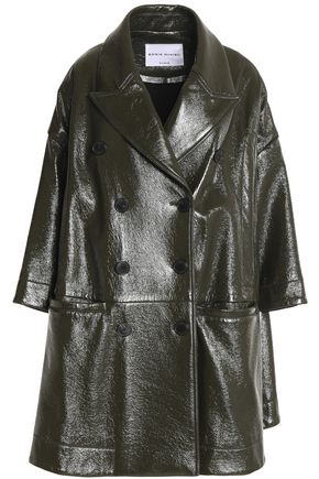 SONIA RYKIEL Double-breasted coated crinkled cotton-blend coat