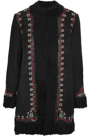 VILSHENKO Agnes leather-trimmed embroidered shearling coat