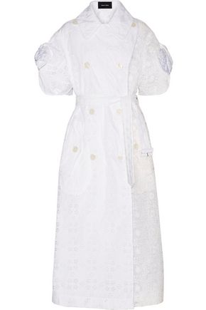 SIMONE ROCHA Bow-embellished broderie anglaise and embroidered organza trench coat