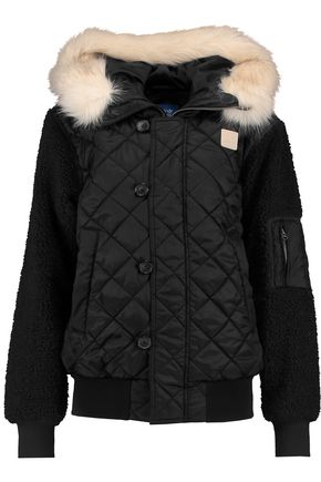 ADIDAS ORIGINALS Faux fur-trimmed quilted shell jacket