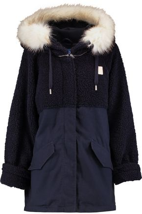 ADIDAS ORIGINALS Faux-fur trimmed hooded cotton parka
