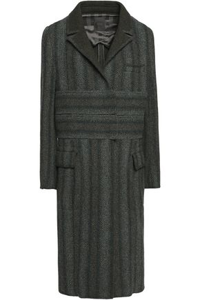 AGNONA Herringbone brushed wool and cashmere-blend coat