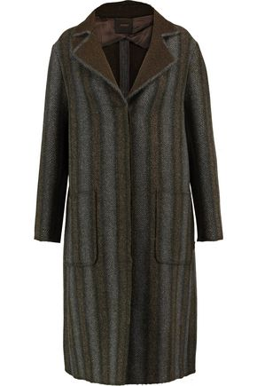 AGNONA Herringbone wool and cashmere-blend coat