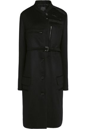 AGNONA Grosgrain-trimmed brushed cashmere coat