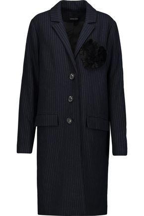 MARISSA WEBB Jacob faux-fur embellished pinstriped crepe de chine coat