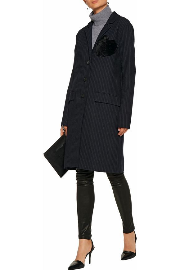 Jacob faux-fur embellished pinstriped crepe de chine coat | MARISSA WEBB | Sale  up to 70% off | THE OUTNET