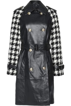 BOUTIQUE MOSCHINO Houndstooth wool-blend tweed-paneled leather coat