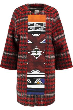 STELLA JEAN Printed canvas-paneled checked bouclé coat